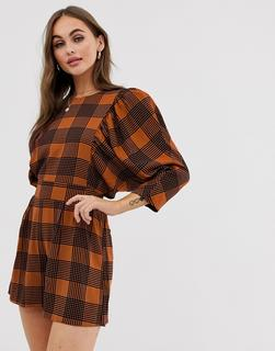 ASOS DESIGN - check print puff sleeve playsuit with tie waist