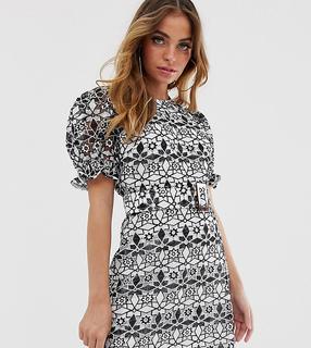 ASOS Petite - ASOS DESIGN Petite premium contrast lace mini dress with puff sleeves and belt