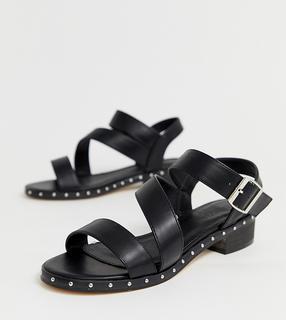 Truffle Collection - Sandalen in weiter Passform mit mittelhohem Absatz und asymmetrischem Design-Schwarz