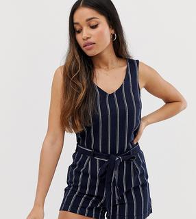 Vero Moda Petite - stripe tie waist playsuit