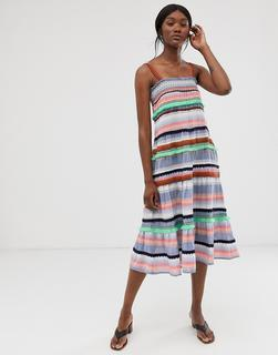 ONLY - stripe embroidered midi dress