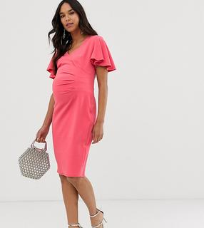 Blume Maternity - wrap front midi jersey dress with cap sleeve in coral