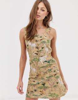MANGO - button front dress in safari print
