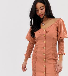 ASOS Petite - ASOS DESIGN Petite button through shirred mini dress