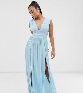 ASOS Petite - ASOS DESIGN Petite PREMIUM Lace Insert Pleated Maxi Dress