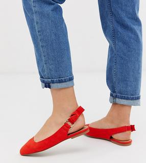 ASOS DESIGN - Wide Fit Valletta ballet flats in orange