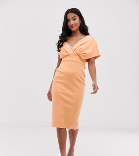 ASOS Petite - ASOS DESIGN Petite fallen shoulder midi pencil dress with tie detail