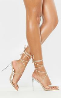 PrettyLittleThing - Nude Clear Heel Ankle Tie Sandal, Pink