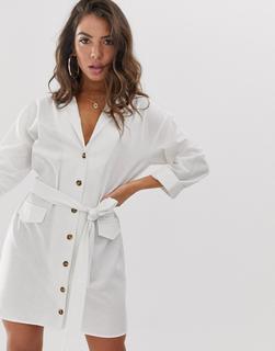 ASOS DESIGN - Mini-Hemdkleid aus Leinen mit Gürtel - Weiß