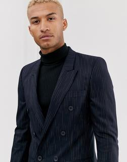 ASOS DESIGN - slim double breasted blazer with broken stripe in navy