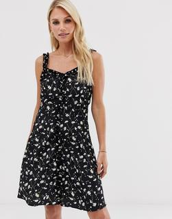 Vila - daisy print mini dress with ruffle detail