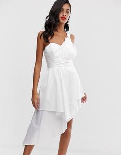 ASOS DESIGN - Mini-Ballkleid aus Baumwollsatin - Weiß