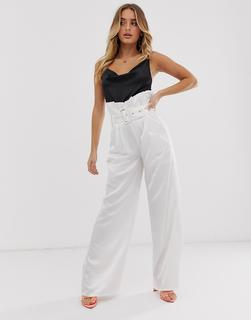 4th & Reckless - 4th & Reckless paper bag buckle trousers in white