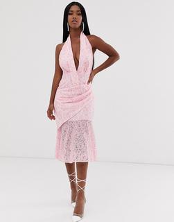 ASOS DESIGN - two tone lace halter midi dress