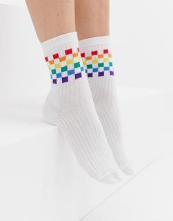 ASOS DESIGN - rainbow checkerboard ankle socks