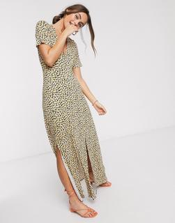 ASOS DESIGN - button through maxi tea dress with splits in yellow ditsy print