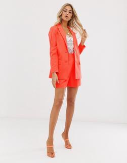 ASOS DESIGN - Weiche Anzug-Shorts in leuchtendem Korallenrot - Rosa