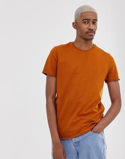ASOS DESIGN - Schweres T-Shirt aus Bio-Material mit Rundhalsausschnitt und ungesäumten Kanten, in Braun - Braun
