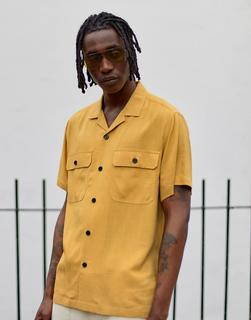 ASOS DESIGN - Oversize-Leinenhemd mit zwei Taschen, in Senfgelb - Gelb