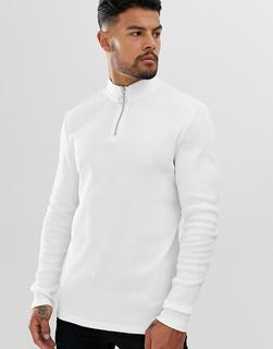 ASOS DESIGN - rib long sleeve t-shirt with turtle zip neck in white