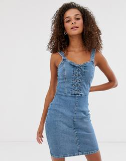 New Look - bodycon dress with lace up in denim