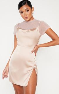 PrettyLittleThing - Rose Satin Cowl Mesh Diamante 2 in 1 Bodycon Dress, Pink
