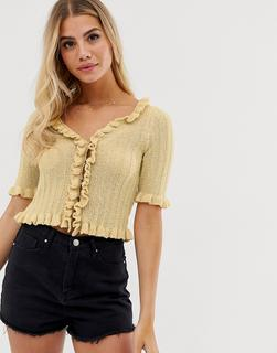 ASOS DESIGN - cropped cardigan with ruffle edges