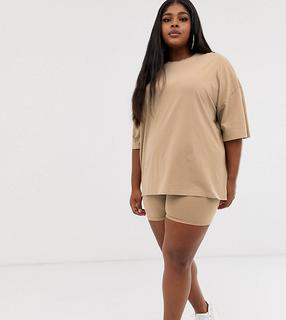 ASOS Curve - ASOS DESIGN Curve co-ord super oversized t-shirt with wash in sand