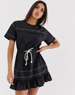 ASOS DESIGN - mini skater dress with rope belt