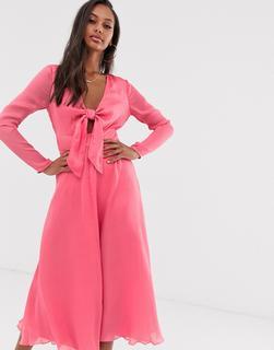 ASOS DESIGN - tie front midi dress in jacquard