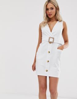 ASOS DESIGN - Mini-Sommerkleid mit Knopfleiste und Gürtel - Weiß