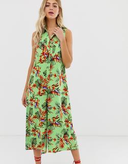 ASOS DESIGN - casual culotte shirt jumpsuit in tropical print