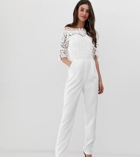 Paper Dolls Tall - bardot cutwork lace tailored jumpsuit in white