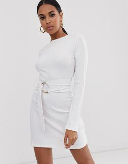 4th + Reckless - 4th & Reckless jersey rib double gold ring tunic dress in white