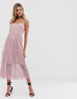 Keepsake - sense lace midi dress with corset detail