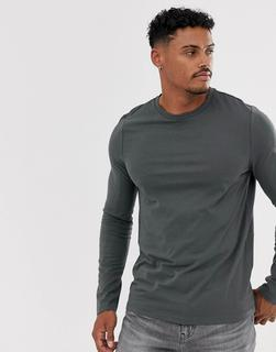 ASOS DESIGN - Langärmliges Shirt aus Bio-Material in verwaschenem Schwarz - Grau