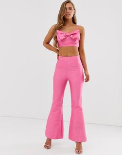 Collective The Label - Ausgestellte Hose in Leuchtend Rosa, Kombiteil - Rosa