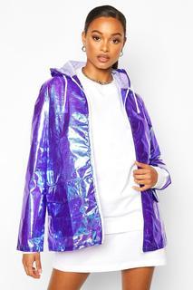 boohoo - Womens Holographischer Regenmantel - Purple - S/M, Purple