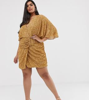 ASOS Curve - ASOS DESIGN Curve all over sequin mini dress with horn buckle