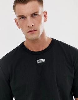 adidas Originals - RYV – Schwarzes T-Shirt mit mittigem Logo