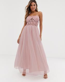 Club L London - Club L tulle skirt maxi dress with lace bodice
