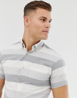Jack & Jones - Core – Hemd mit Streifen in regulärer Passform-Weiß