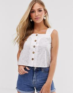 MANGO - broderie button front top in white