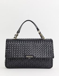 Valentino by Mario Valentino - black woven chain strap shoulder bag