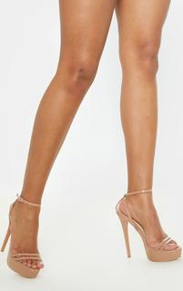 PrettyLittleThing - Nude High Platform Sandals, Pink