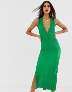 ASOS DESIGN - Langes, plissiertes Sommerkleid mit gedrehtem Design hinten - Grün