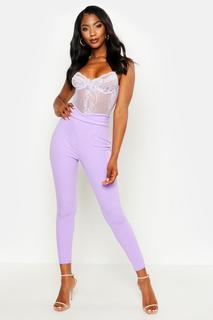 boohoo - Womens Basic High Waist Crepe Skinny Stretch Trousers - purple - 10, Purple