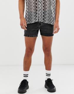 ASOS DESIGN - denim shorts in shorter length acid wash black