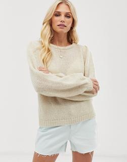 Vero Moda - Aware – Pullover mit Puffärmeln-Beige