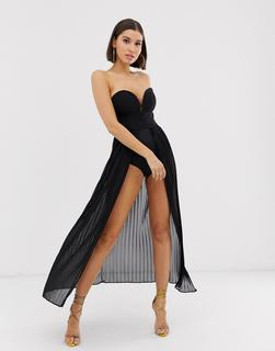 Rare - London pleated maxi bodysuit dress in black